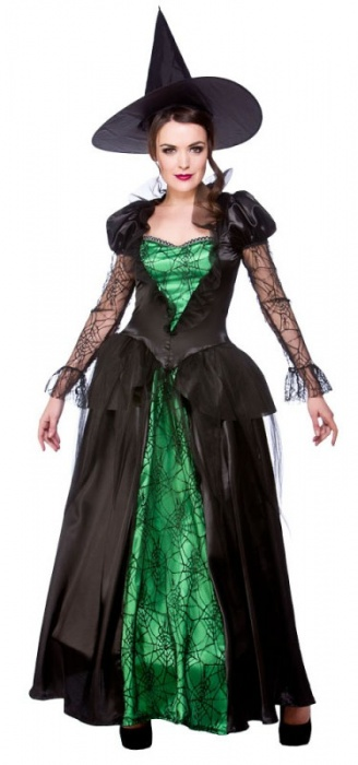 WICK5079 Ladies Long Halloween Witch Costume