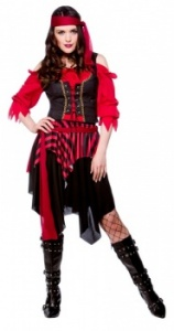 WICK2158 Ladies Red Shipwrecked Pirate Costume