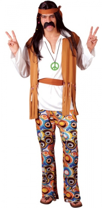 WICK3035 Mens Hippie Costume up to Plus Size
