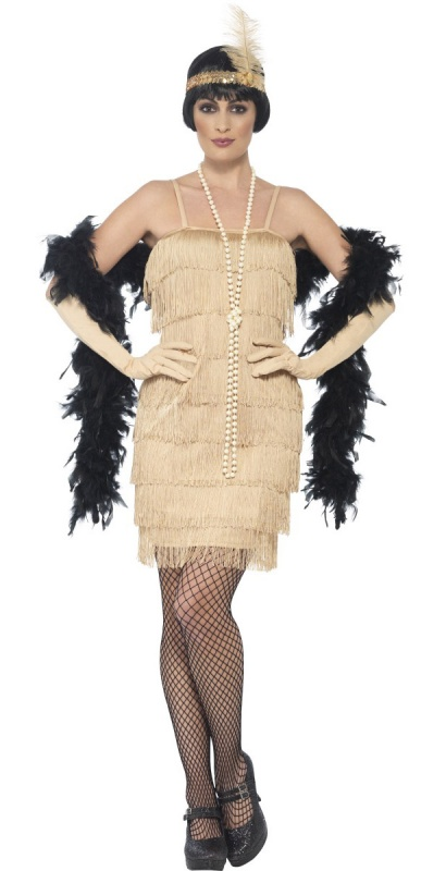 SM44678 Ladies Sexy Gold 20s Flapper Costume