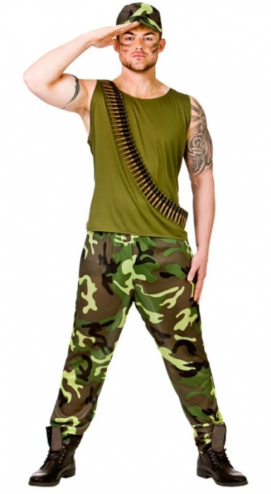 WICK3208 Mens Army Guy Costume