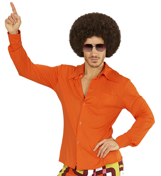 SANC09044 Mens 70s Orange Retro Shirt Costume