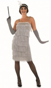 FUN3909 Ladies Silver Long Flapper Dress Costume