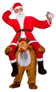 WICK8593 Mens Funny Carry Me Reindeer Costume